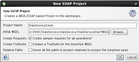 soapUI create project